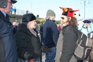 Gloria Warrington argues with a pro Wind Farm demonstrator